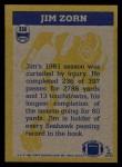 1982 Topps #256   -  Jim Zorn In Action Back Thumbnail