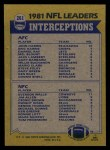 1982 Topps #261   -  John Harris / Everson Walls Interception Leaders Back Thumbnail
