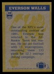 1982 Topps #328   -  Everson Walls In Action Back Thumbnail
