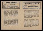 1962 Topps CFL  Joe-Bob Smith / Dave Mann  Back Thumbnail