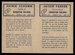 1962 Topps CFL  Jackie Parker / Howie Schumm  Back Thumbnail