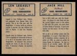 1962 Topps CFL  Jack Hill / Len Legault  Back Thumbnail