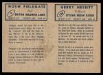 1962 Topps CFL  Norm Fieldgate / Gerry Nesbitt  Back Thumbnail