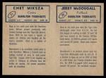1962 Topps CFL  Jerry McDougall / Chet Miksza  Back Thumbnail