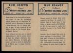 1962 Topps CFL  Nub Beamer / Tom Brown  Back Thumbnail