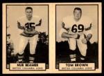1962 Topps CFL  Nub Beamer / Tom Brown  Front Thumbnail