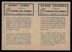 1962 Topps CFL  Roger Hagberg / Gerry James  Back Thumbnail