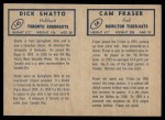 1962 Topps CFL  Cam Fraser / Dick Shatto  Back Thumbnail