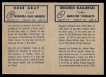 1962 Topps CFL  Bronko Nagurski / Herb Gray  Back Thumbnail