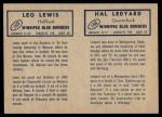 1962 Topps CFL  Hal Ledyard / Leo Lewis  Back Thumbnail