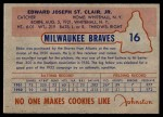 1953 Johnston Cookies #16  Ebba StClaire   Back Thumbnail