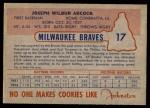 1953 Johnston Cookies #17  Joe Adcock   Back Thumbnail