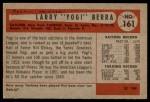 1954 Bowman #161  Yogi Berra  Back Thumbnail