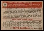 1952 Topps #301  Bob Porterfield  Back Thumbnail