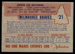 1953 Johnston Cookies #21  Eddie Mathews  Back Thumbnail