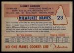 1953 Johnston Cookies #23  Sid Gordon   Back Thumbnail