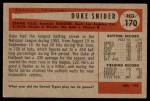 1954 Bowman #170  Duke Snider  Back Thumbnail