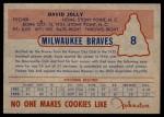 1953 Johnston Cookies #8  Dave Jolly  Back Thumbnail