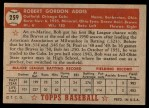 1952 Topps #259  Bob Addis  Back Thumbnail