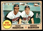 1968 Topps #530   -  Frank Robinson / Brooks Robinson Bird Belters Front Thumbnail
