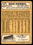 1968 Topps #333  Ron Herbel  Back Thumbnail