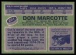 1976 Topps #234  Don Marcotte  Back Thumbnail