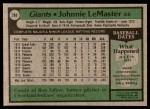 1979 Topps #284  Johnnie LeMaster  Back Thumbnail