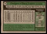 1979 Topps #290  Dave Lopes  Back Thumbnail