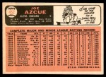 1966 Topps #452  Joe Azcue  Back Thumbnail