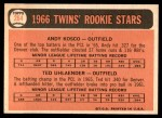1966 Topps #264   -  Ted Uhlaender / Andy Kosco Twins Rookies Back Thumbnail