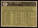 1961 Topps #11 xBRE Curt Simmons  Back Thumbnail