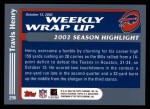 2003 Topps #296   -  Travis Henry Weekly Wrap-Up Back Thumbnail