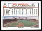 1992 Topps #59  Mo Vaughn  Back Thumbnail