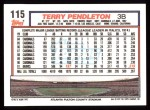 1992 Topps #115  Terry Pendleton  Back Thumbnail