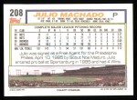 1992 Topps #208  Julio Machado  Back Thumbnail