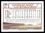 1992 Topps #299  Charles Nagy  Back Thumbnail