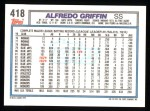 1992 Topps #418  Alfredo Griffin  Back Thumbnail