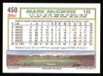 1992 Topps #450  Mark McGwire  Back Thumbnail