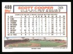 1992 Topps #488  Scott Cooper  Back Thumbnail