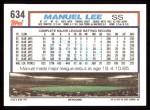 1992 Topps #634  Manuel Lee  Back Thumbnail
