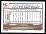 1992 Topps #662  Juan Guzman  Back Thumbnail