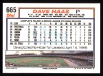1992 Topps #665  Dave Haas  Back Thumbnail