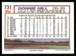 1992 Topps #731  Donnie Hill  Back Thumbnail