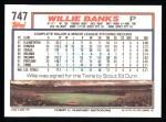 1992 Topps #747  Willie Banks  Back Thumbnail
