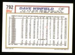 1992 Topps #792  Dave Winfield  Back Thumbnail