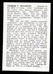 1950 Callahan Hall of Fame  Tommy McCarthy  Back Thumbnail
