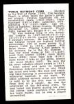1950 Callahan Hall of Fame  Ty Cobb  Back Thumbnail
