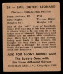 1948 Bowman #24  Dutch Leonard  Back Thumbnail