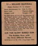 1948 Bowman #13  Willard Marshall  Back Thumbnail