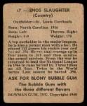 1948 Bowman #17  Enos Slaughter  Back Thumbnail